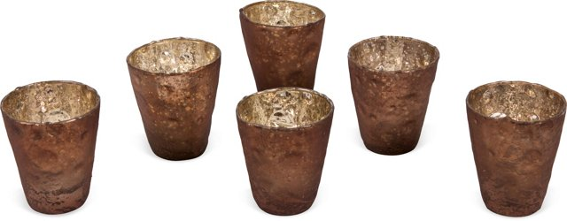 Brown Glass Votives, Set of 6