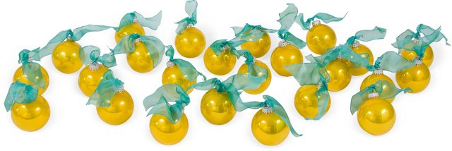 Gold Glass Ornaments, Set of 24