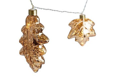 S/4 Gilded Leaf String Lights