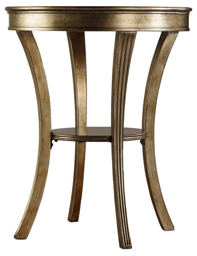 """Allen 22"""" Round Mirror Side Table, Gold"""