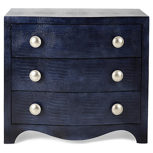 Nile Textured Leather Dresser, Blue
