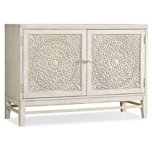 Matisette 2-Door Carved Cabinet, White