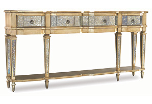 """Jewel 72"""" Mirrored Console, Gold"""