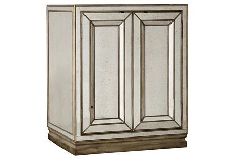 Lucy 2-Door Mirrored Nightstand, Gold