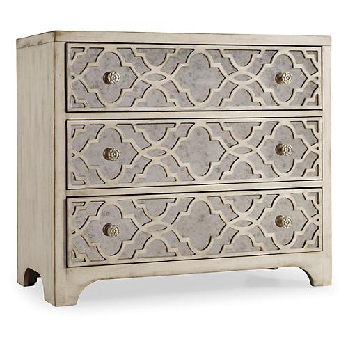 """Fretwork 36"""" Mirrored Dresser, White"""