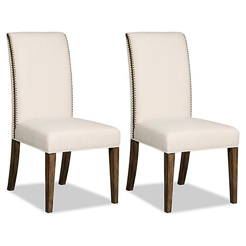 Ivory Bordeaux Side Chairs, Pair