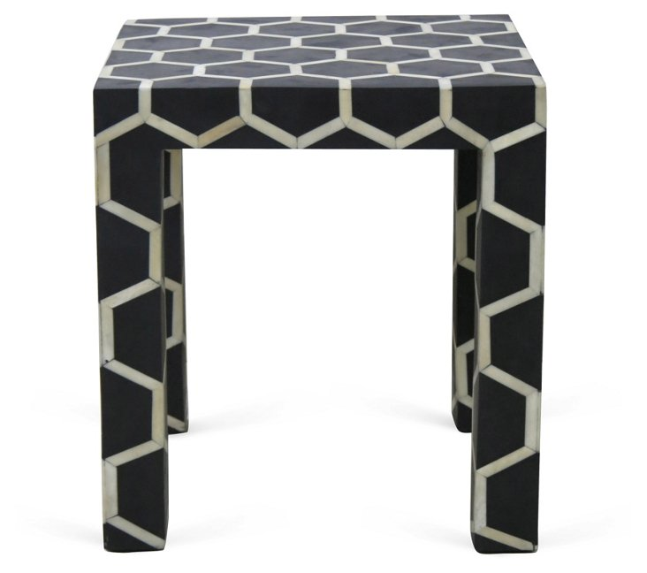 Grove Side Stool, Black/Ivory