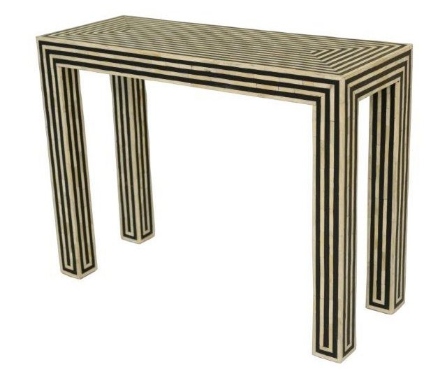 Sally Console Table, Black/Ivory