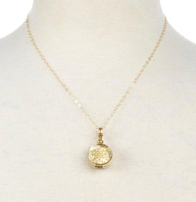 """5/8"""" Brass Round Locket, 18"""" Chain"""