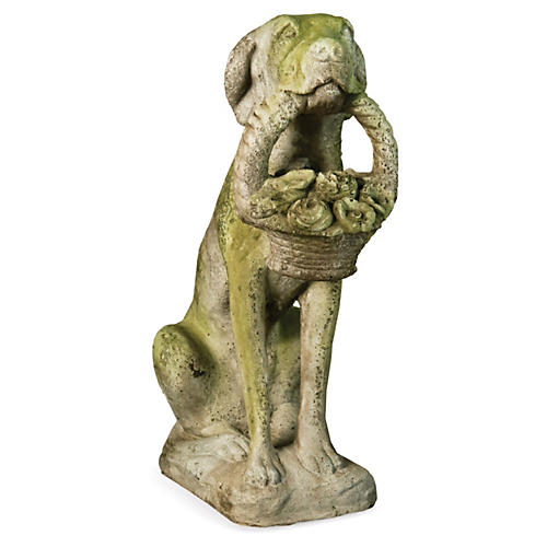 "24"" Garden Dog w/ Basket, White Moss"