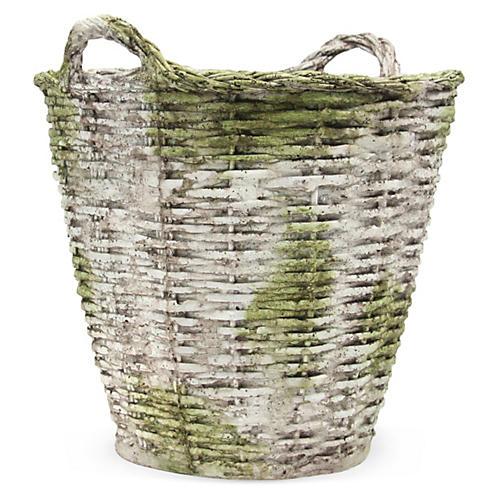 "22"" Round Basket, White/Moss"