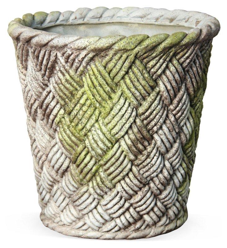 "24"" Nied Weave Basket, White Moss"