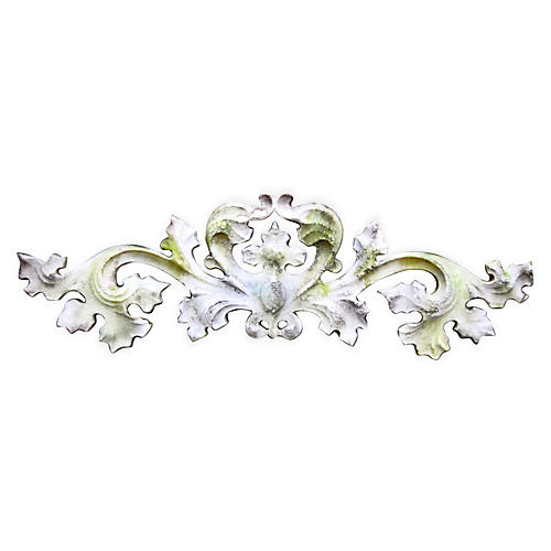 "10"" Contessa Wall Carving, White Moss"