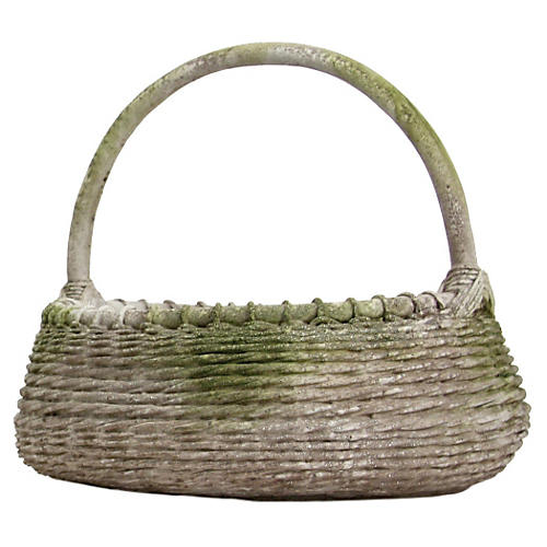 "23"" Country Basket, White Moss"