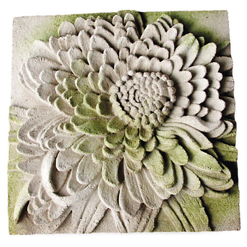 "14"" Chrysanthemum Plaque, White Moss"