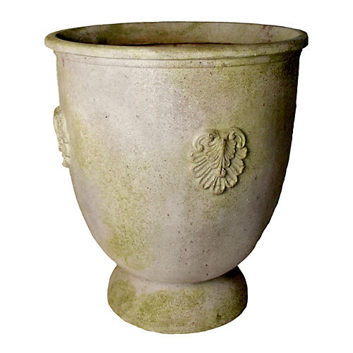 "28"" French Anduze Planter, White Moss"