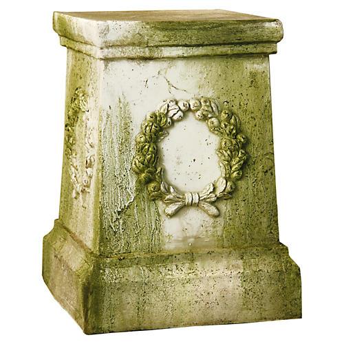 "18"" Wreath Pedestal, White Moss"