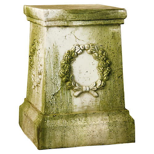 "18"" Wreath Pedestal, White Moss"