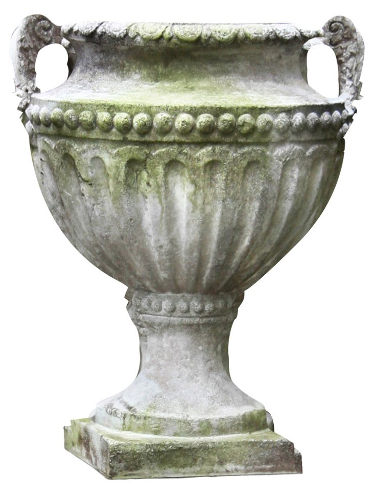 "18"" Fluted and Beaded Urn, White Moss"