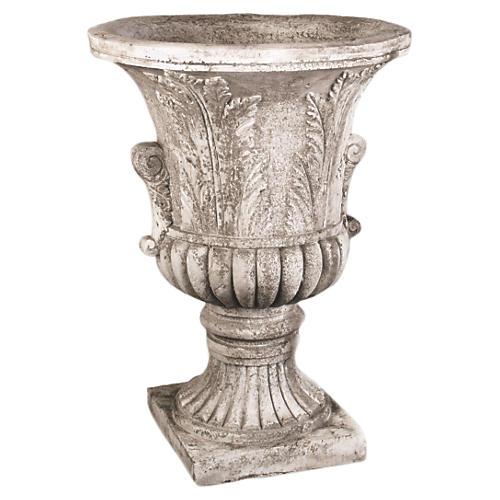 """30"""" Acanthus-Leaf Urn, Cathedral White"""