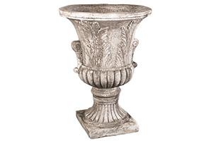 """30"""" Acanthus-Leaf Urn, Weathered Stone"""