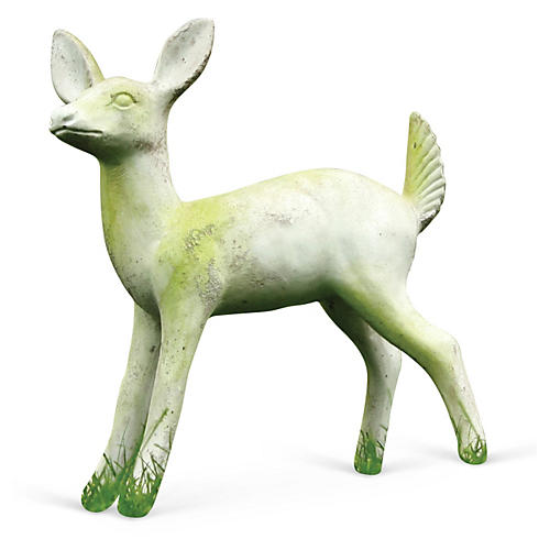 "23"" Deer Fawn Statue, White"