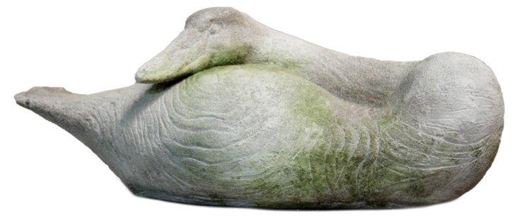 """18"""" Swan Resting, White Moss"""