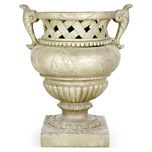 "21"" Weave-Top Urn, Antique Stone"