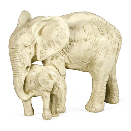 "18"" Elephant & Calf Statue, White"