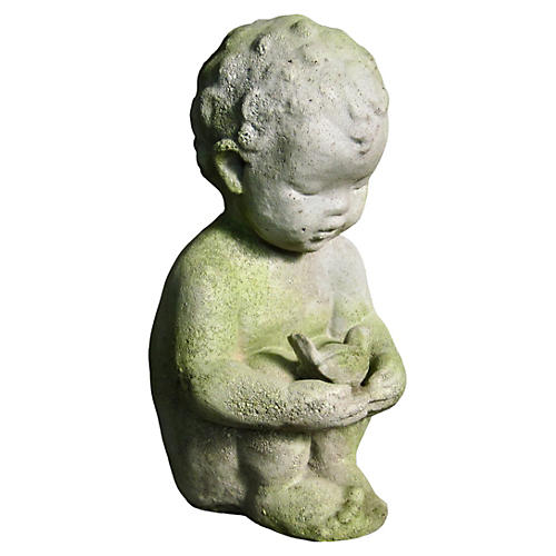 "15"" Pierre w/ Bird Statue, White Moss"