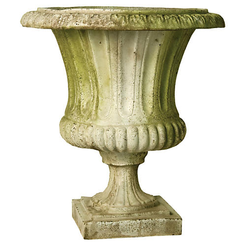 "22"" Classical Urn, White Moss"