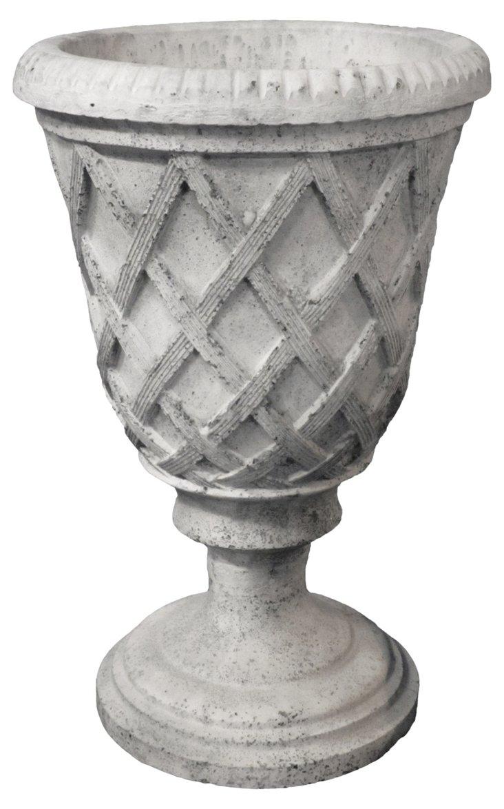 "20"" Basket Urn, Cathedral White"
