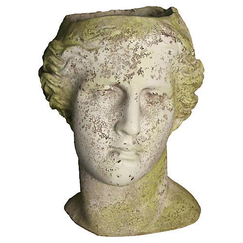 "14"" Venus Head Planter, White Moss"