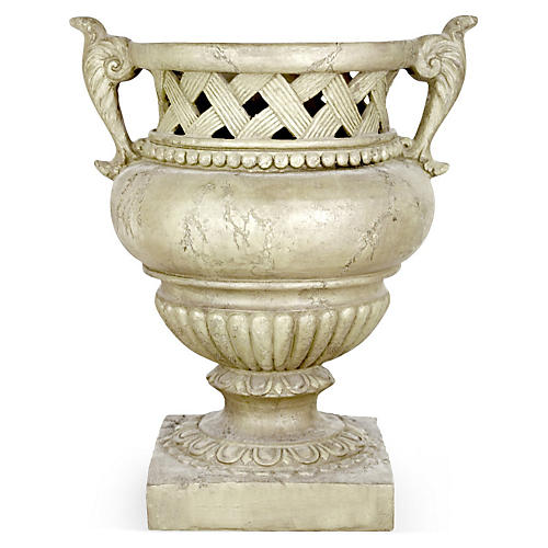"""21"""" Weave-Top Urn, Cathedral White"""