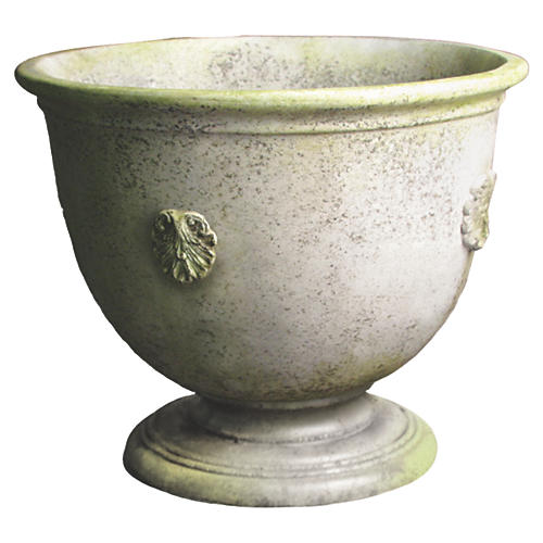 "30"" French Anduze Urn, White Moss"