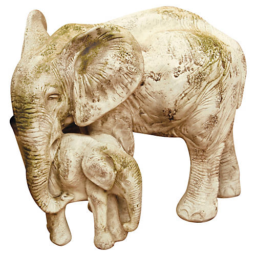 "18"" Bull Elephant & Calf, Antiqued Stone"