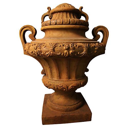 """31"""" Embellished Urn w/ Lid, Sandstone"""