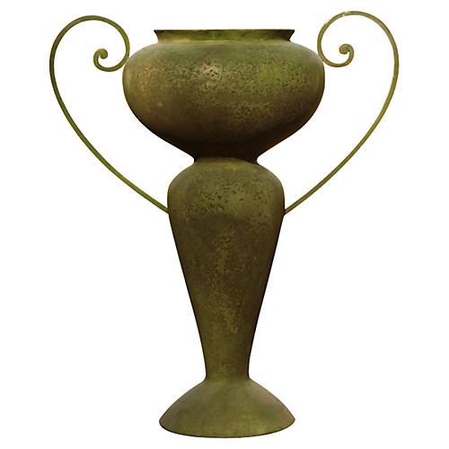 Abraham Urn w/Iron Handles, Verde