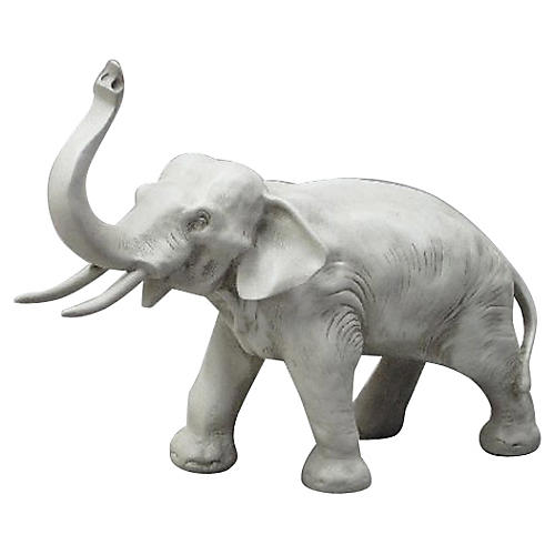 "16"" Charging Elephant, Antique Stone"