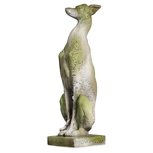 """30"""" Whippet Dog, White Moss"""