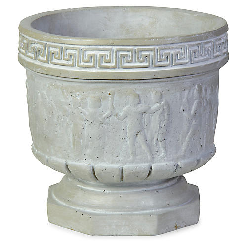 "12"" Athens Outdoor Planter, Distressed Ivory"