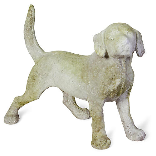 "15"" Hound Dog Outdoor Statue, Distressed Ivory"