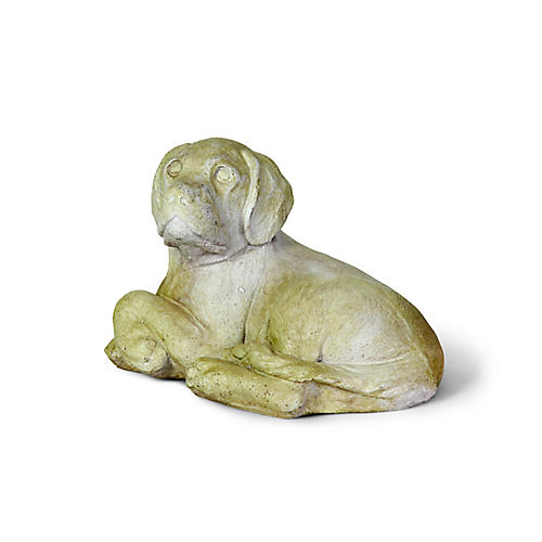 "13"" Hunter Pup Outdoor Statue, Distressed Ivory"