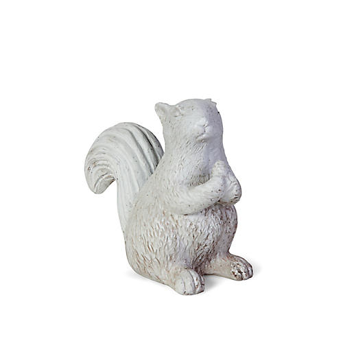 "8"" Squirrel Outdoor Statue, Distressed Ivory"