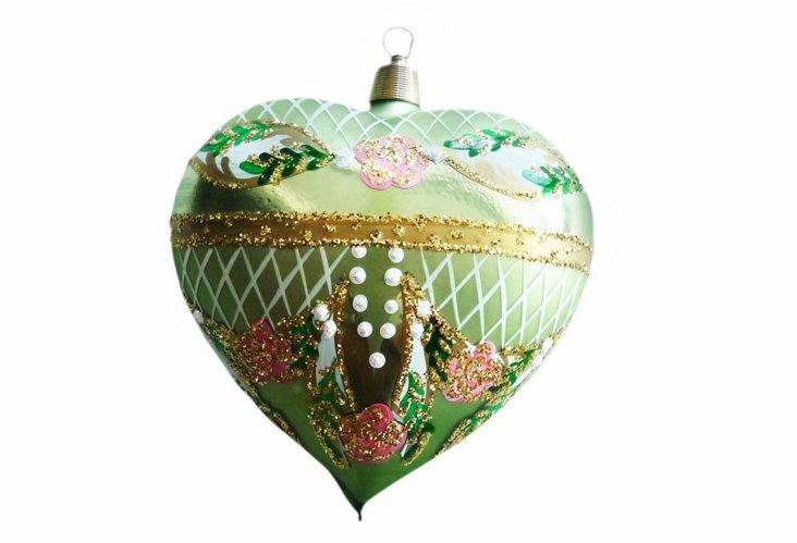 Pearl Heart Ornament, Green/Pink