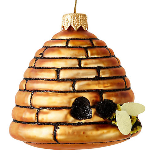 """3"""" Beehive Ornament, Gold"""