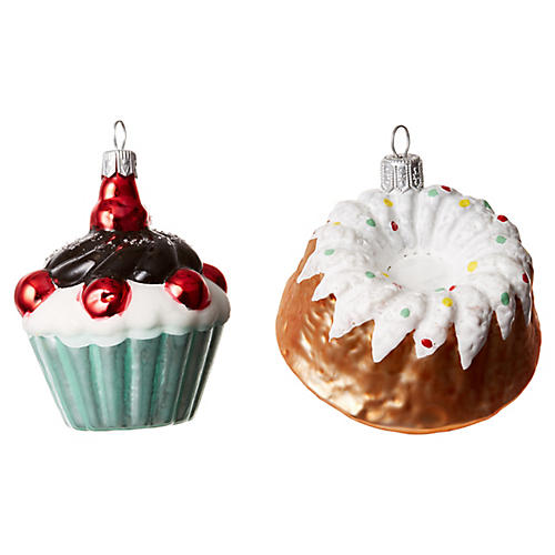 Cordell Pastry Ornaments, White/Multi