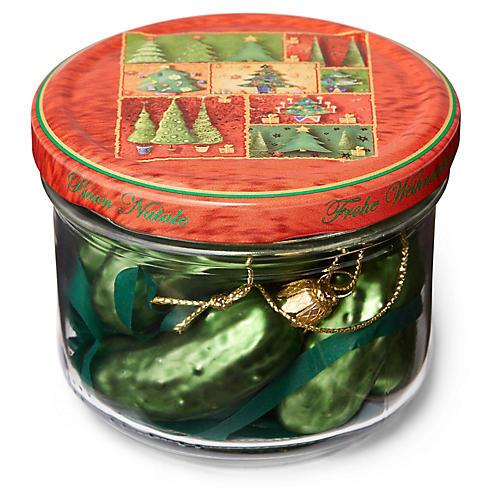 Asst. of 7 Jarred Pickle Ornaments w/ Jar, Green