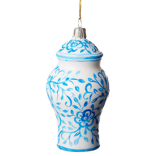 Ginger Jar Ornament, Blue/White