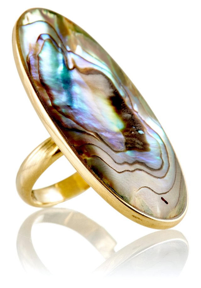 Paua Shell Long Oval Ring